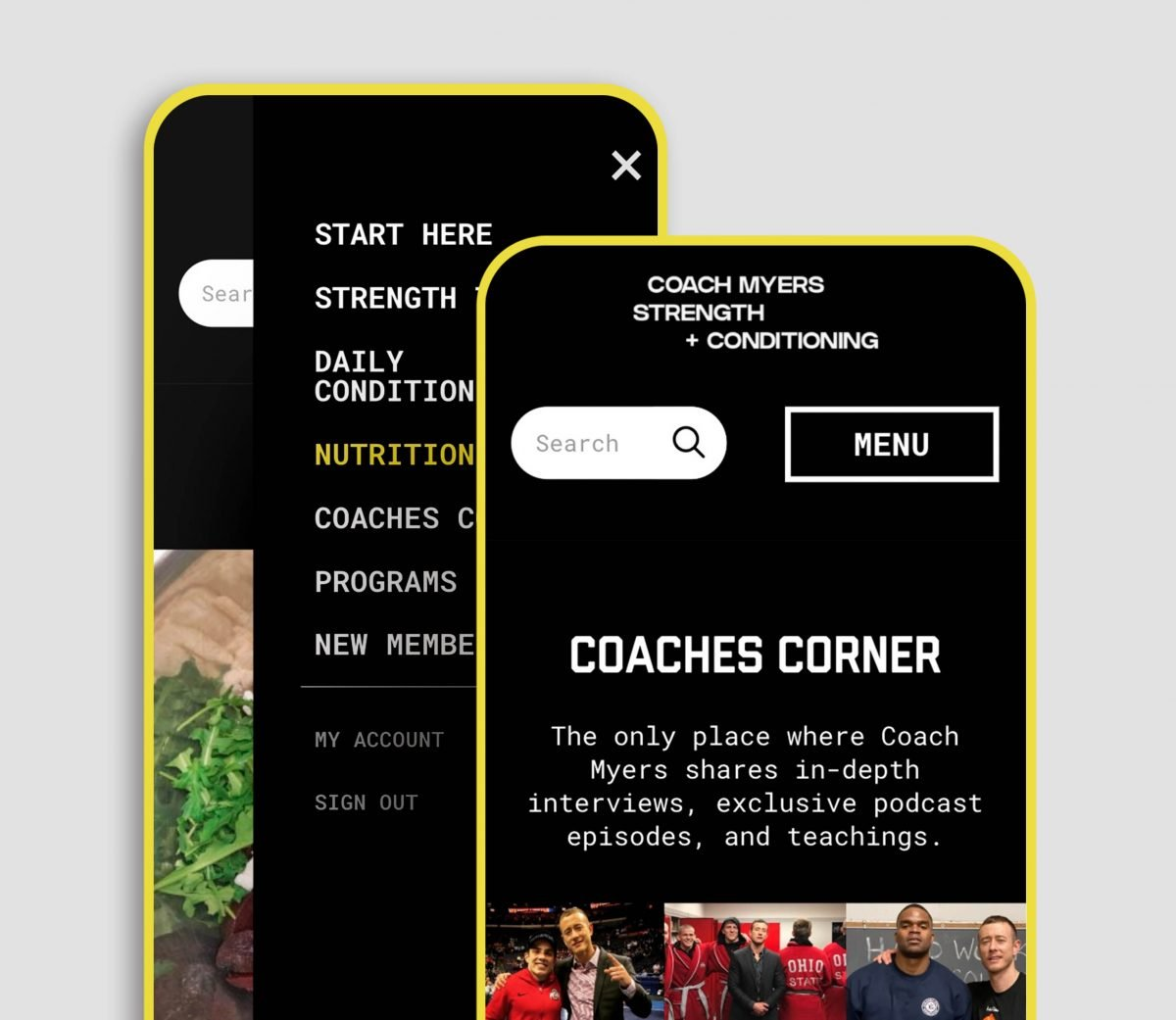 The inside of Coach Myers' Membership on a phone